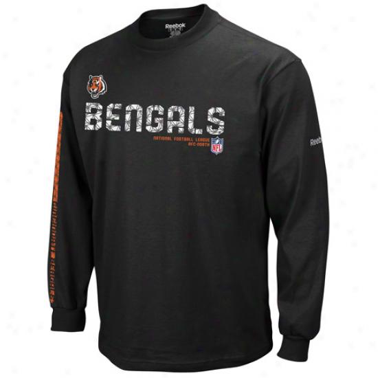 Cincinnati Bengals Tshirts : Reebok Cincinnati Bengals Youth Black Sideline Tacon Long Sleeve Tsbirts