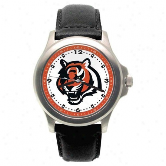 Cincinnati Bengals Watch : Cincinna5i Bengals Rookie Watch W/leather Band