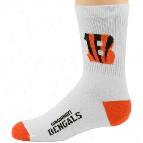 Cincinnati Bengals Youth White-orange Quarter Length Socks