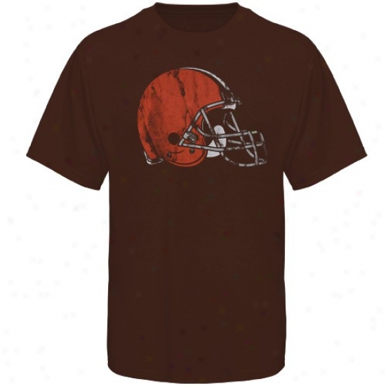 Cleveland Brown Apparel: Cleveland Brown Brown Vintage Fitted T-shirt