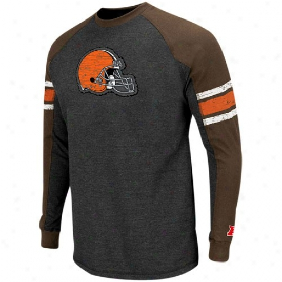 Clevelannd Brown Apparel: Clevdland Brown Charcoal-nrown Conquest Prude Ii Premium Long Sleeve Raglan T-shirt
