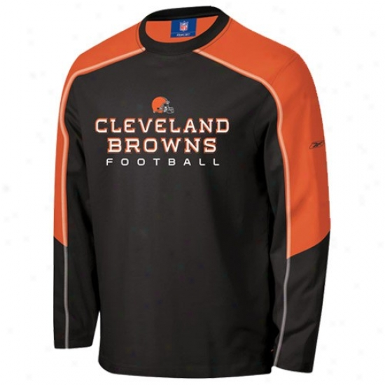 Cleveland Brown Apparel: Reeok Cleveland Brown Brown Match-up Constructed Long Sleeve T-shirt