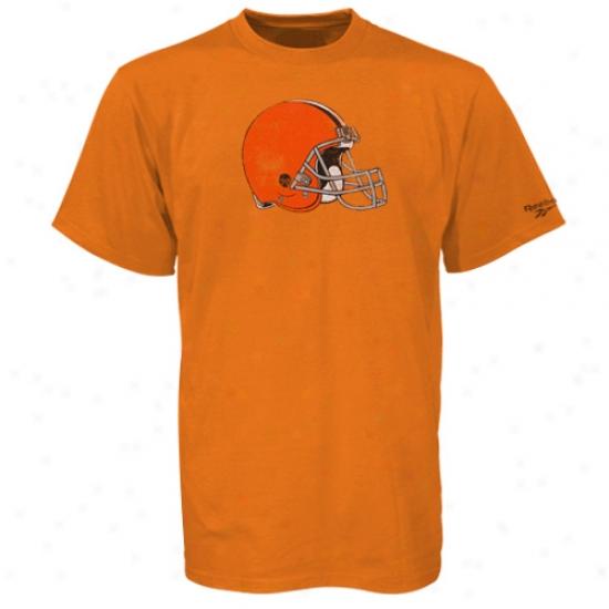 Cleveland Brown Apparel: Reebok Cleveland Brown Orange Better Logo Vintage T-shirt