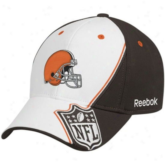 Cleveland Brown Caps : Reebok Cleveland Brown White-brown Shield Structured Flex Fit Caps