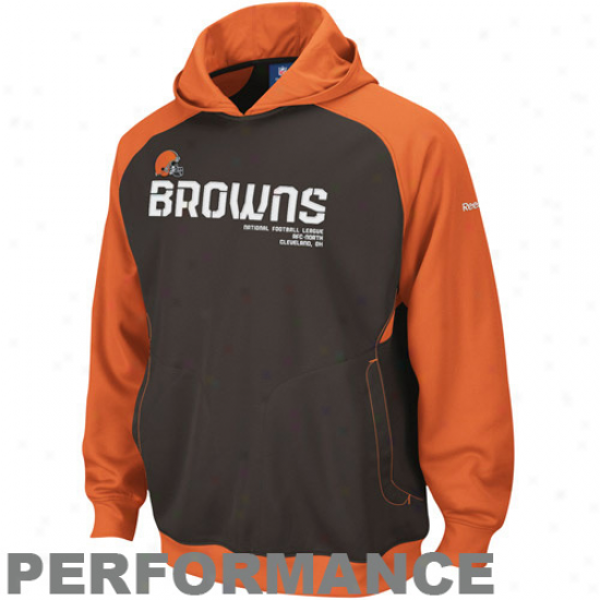 Cleveland Brown Fleece : Reebok Cleveland Brown Brown-orange Sideline Performance Puklover Fleece