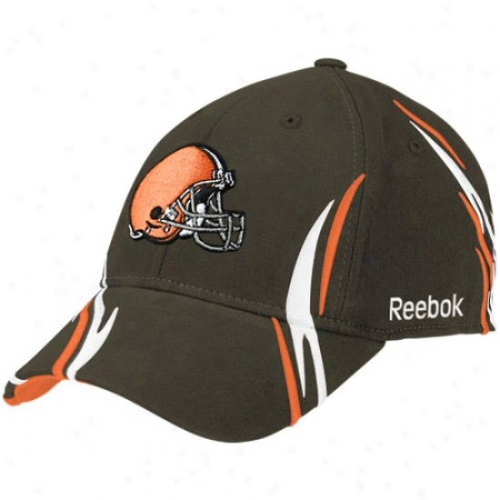 Cleveland Brown Gear: Reebok Cleveland Brown Brown Tiller Structured Flex Fit Hat