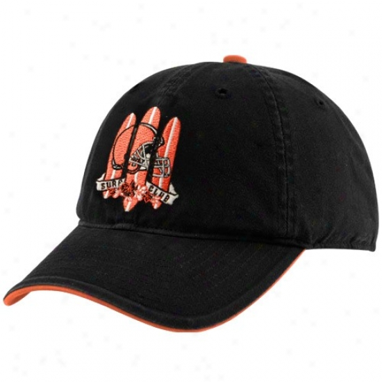Cleveland Brown Gear: Reebok Cleveland Brown Black Surf Club Adjustable Slouch Hat
