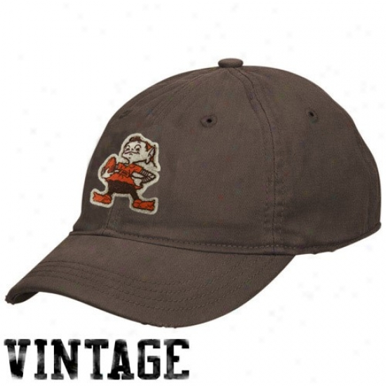 Cleveland Brown Gear: Reebok Cleveland Brown Ladies Brown Short Brim Slouch Vintage Hat