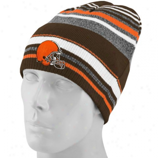 Cleveland Brown Hats : Reebok Cleveland Brown Gray-striped Cuffless Reversible Beanie