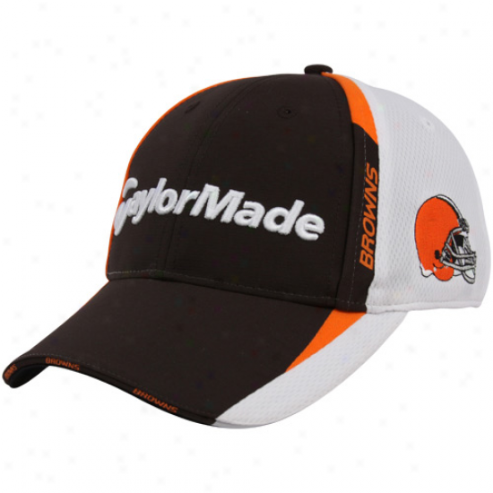 Cleveland Brown Hats : Taylormade Cleveland Brown Brown-white 2010 Nfl Golf Adjustable Hats