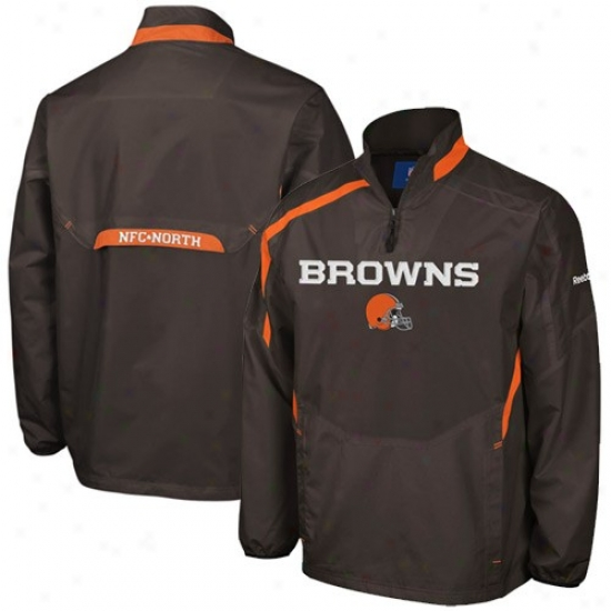 Cleveland Brown Jacket : Reenok Cleveland Brown Brown Throttle 1/4 Zip Pullover Hot Jacket