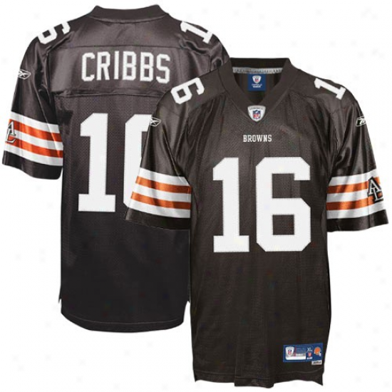 Cleveland Brown Jersey : Reebok Josh Cribbs Cleveland Brosn Youth Premier Tackle Twill Jersey - Brown