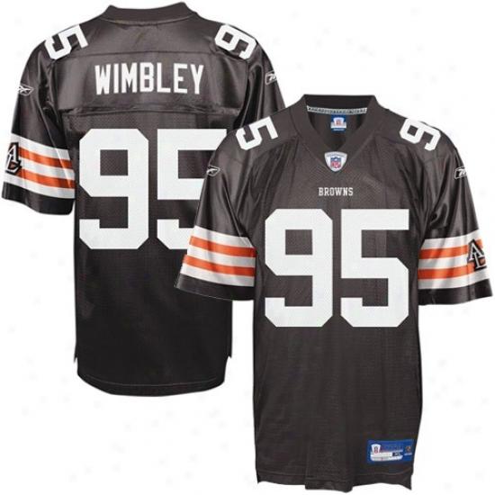 Cleveland Broen Jersey : Reebok Nfl Equipment Cleveland Brown #95 Kamerion Wimbley Brown Replica Fkotball Jersey