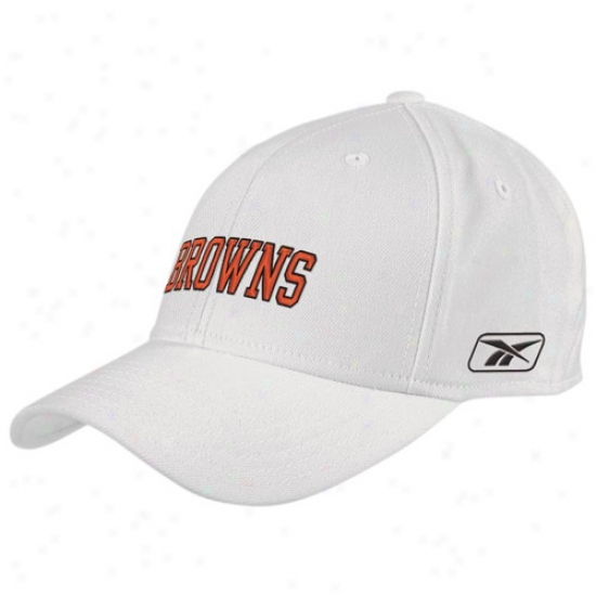 Cleveland Brown Merchandise: Reebok Cleveland Brown White Basic Logo Wool Blend Fitted Hat