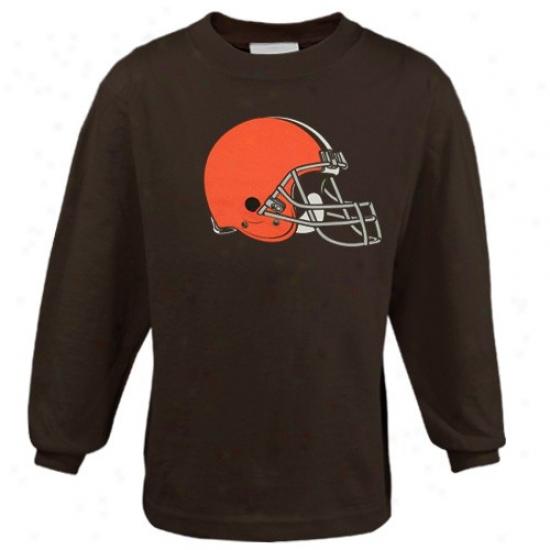 Clevsland Brown Shirt : Reebok Cleveland Brown Preschool Brown Primaary Logo Long-winded Sleeve Shirt