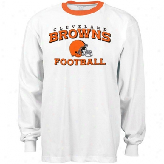 Cleveland Brown Shirts : Reebok Cleveland Brown White Stacked Helm Long Sleeve Ringer Shirts