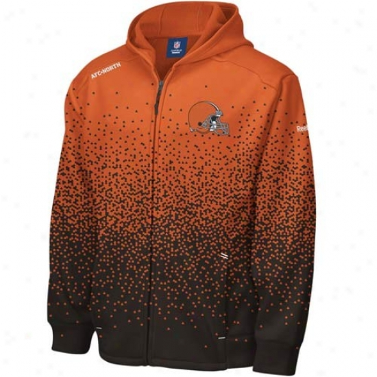 Cleveland Brown Stuff: Reebok Cleveland Brown Orange Ascent Sidelibe Full Zip Hoody Sweatshirt