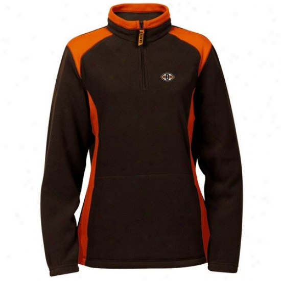 Cleveland Brown Sweat Shirt : Cleveland Brown Ladies Brown Breakout Play 1/4 Zip Ooze Shirt Pullover