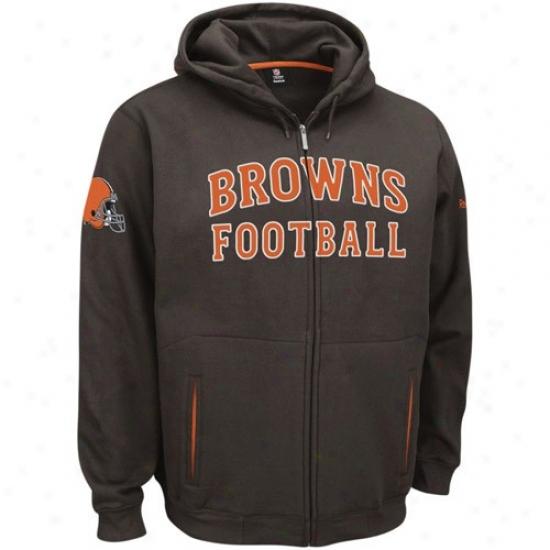 Cleveland Brown Sweat Shirt : Reebok Cleveland Brown Brown Overtime Full Zip Sweat Shirt