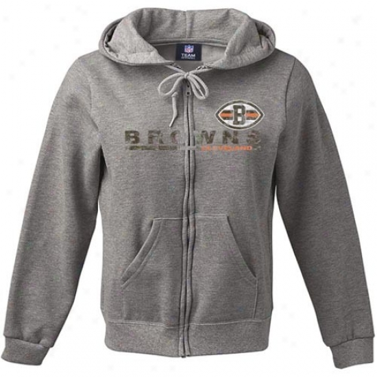 Cleveland Brown Sweat Shirts : Cleveland Brown Ladies Ash Classic Football Full Zip Vintage Sweat Shirts