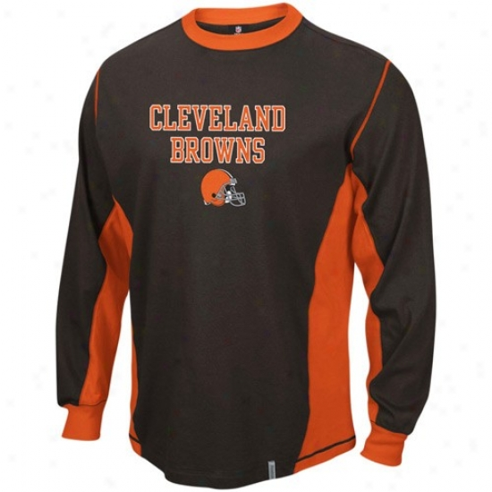 Cleveland Brown T Shirt : Reebok Cleveland Brown Brown Downforce Constructed Long Sleeve Premium T Shirt