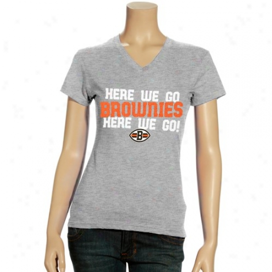Cleveland Brown T-shirrt : Reebok Cleveland Brown Ladies Ash Her Cheer V-neck T-shirt