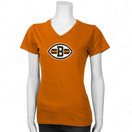 Cleveland Brown T-shirt : Reebok Cleveland Brown Orange Ladies Logo Premier T-shirt