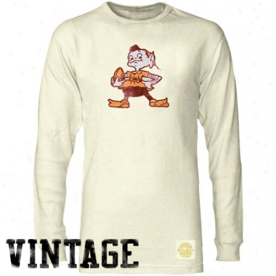 Cleveland Brown Tee : Reebok Cleveland Brown Natural Retro Logo Long Sleeve Vintage Premium Thermal Tee