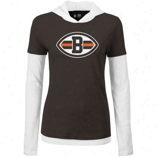 Cleveland Brown Tshirt : Cleveland Brown Ladies Brown-white 2fer Long Sleeve Double Layer Hoody Tshirt