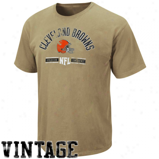 Cleveland Brown Tshirt : Cleveland Brown Light Brown Vintage Stadium Wwar Tshirt