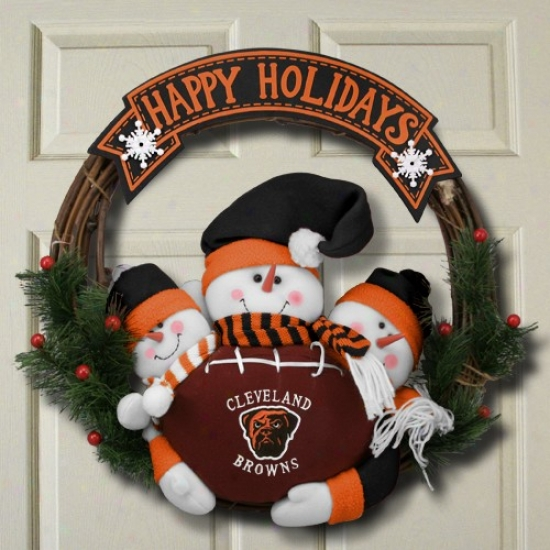 Cleveland Browns 20'' Thrree Plush Snowmen Happy Holidays Wreath