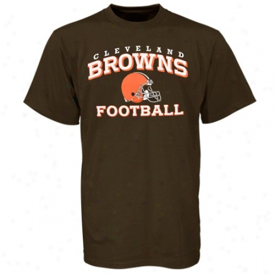 Cleveland Browns Apparel: Reebok Cleveland Browns Youth Brown Stacked Helmet T-shirt