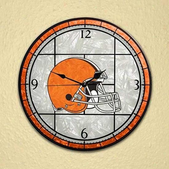 Cleveland Browns Art-glass Clock