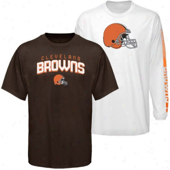 Clrveland Browns Attire: Reebok Cleveland Browns Brown-white 3-in-1 T-shirt Combo Pack