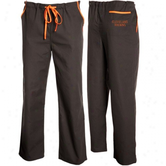 Cleveland Browns Brown Basic Unisex Solid Scrub Pants