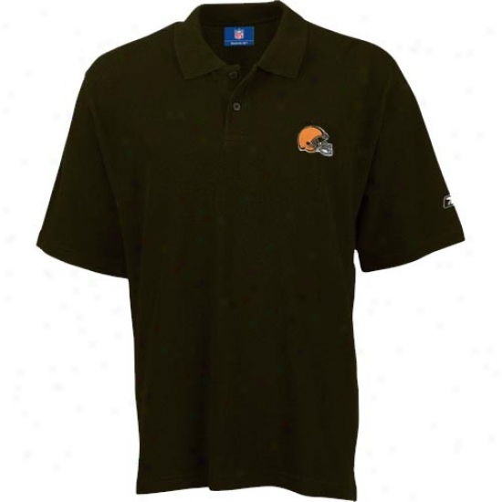 Cleveland Browns Clothing: Reebok Cleveland Browns Brown Team Loog Pique Polo