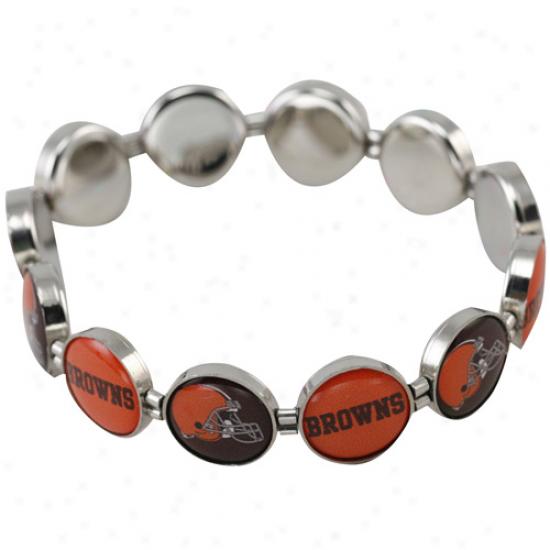 Cleveland Browns Enamel Charm Beaded Bracelet