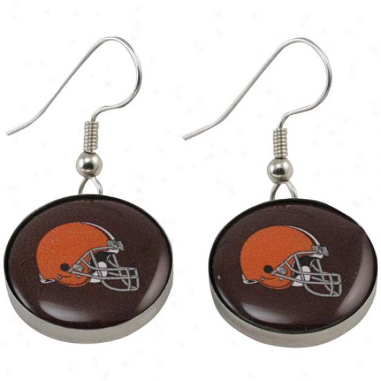 Cleveland Browns Enamel Logo Charm Drop Earrings