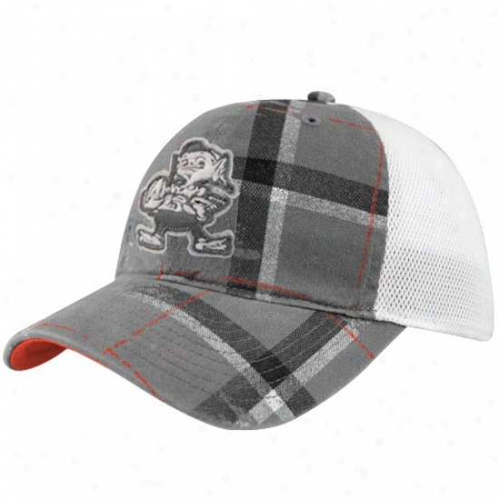 Cleveland Browns Hats : Reebok Cleveland Browns Gray-white Lathe Flex Fit Hats