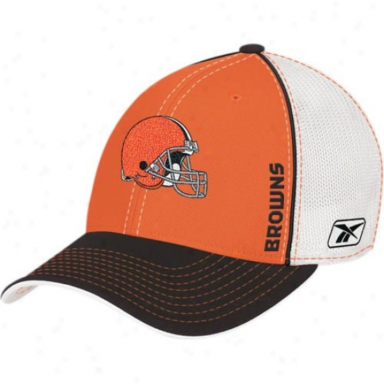Cleveland Browns Hats : Reebok Cleveland Browns Orange Youth 2008 Draft Day Flex Fit Mesy Hats