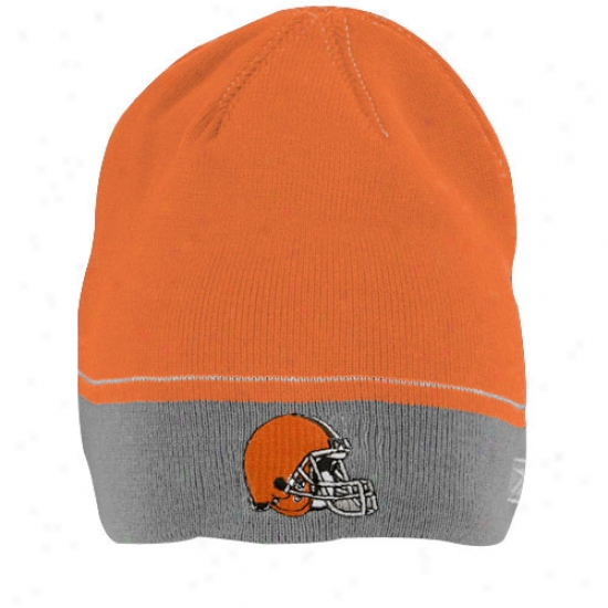 Cleveland Browns Hats : Reebok Cleveland Browns Youth Orange Performer Winter Skully Knit Beanie