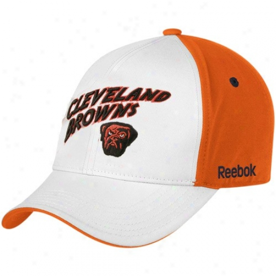 Cleveland Browns Hats : Reebok Cleveland Browns Youth White Structured Adjustable Hats