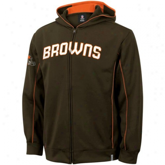 Cleveland Browns Hoodie : Reeobk Cleveland Browns Brown Captain Full Zip Hoodie Jacket