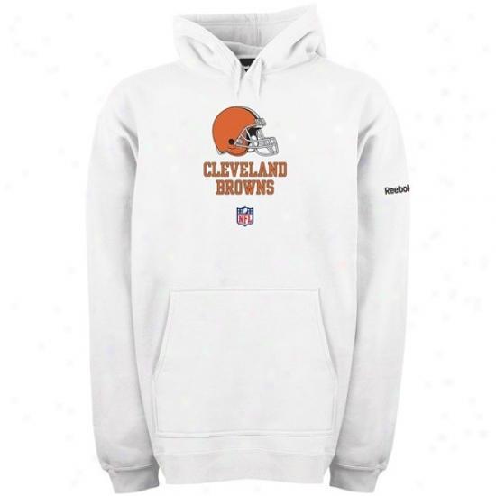 Cleveland Browns Hoody : Reebok Cleveland Browns White Team Lockup Sideline Hoody