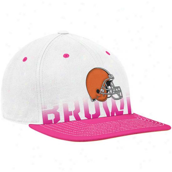 Cleveland Browns Merchandise: Reebok Cleveland Browns White-pink Breast Cancer Awareness Flay Brim Flex Hat
