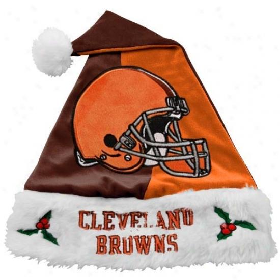Cleveland Browns Mistletoe Santa Hat