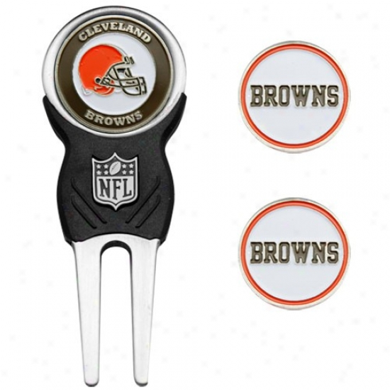 Cleveland Browns Nfl Divot Tool & Ball Marker Set