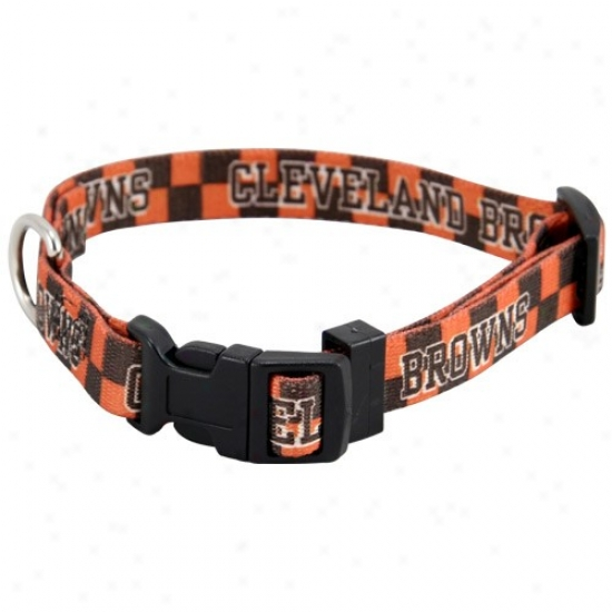 Cleveland Browns Orange Checkered Dog Collar