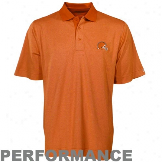 Cleveland Browns Polo : Cutter & Buck Cleveland Browns Orange Birdseye Drytec Performance Polo