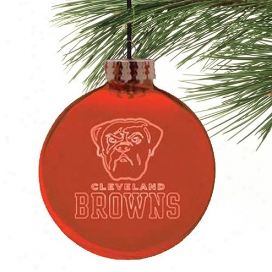 Cleveiand Browns Red Etched Laser Light Ornament